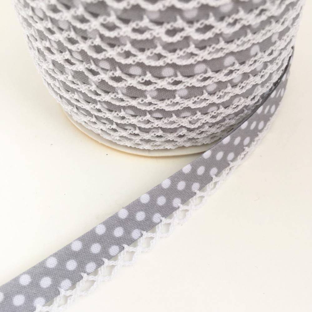 Grey 12mm Pre-Folded Polka Dot Bias Binding with Lace Edge