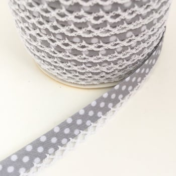 Grey 12mm Pre-Folded Polka Dot Bias Binding with Lace Edge