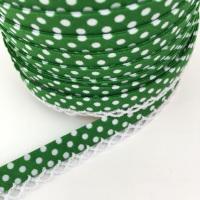 Emerald Green 12mm Pre-Folded Polka Dot Bias Binding with Lace Edge