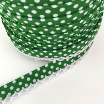 Emerald Green 12mm Pre-Folded Polka Dot Bias Binding with Lace Edge