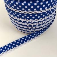 Dark Blue 12mm Pre-Folded Polka Dot Bias Binding with Lace Edge