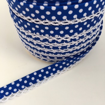 Dark Blue 12mm Pre-Folded Polka Dot Bias Binding with Lace Edge