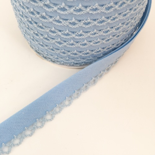 Baby Blue 12mm Pre-Folded Plain Bias Binding with Lace Edge
