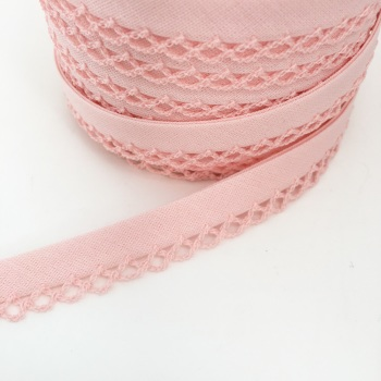 Baby Pink 12mm Pre-Folded Plain Bias Binding with Lace Edge
