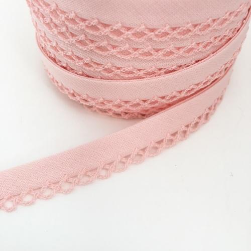 PLAIN PICOT LACE CROCHET EDGE BIAS BINDING ribbon trim folded ALL COLOURS