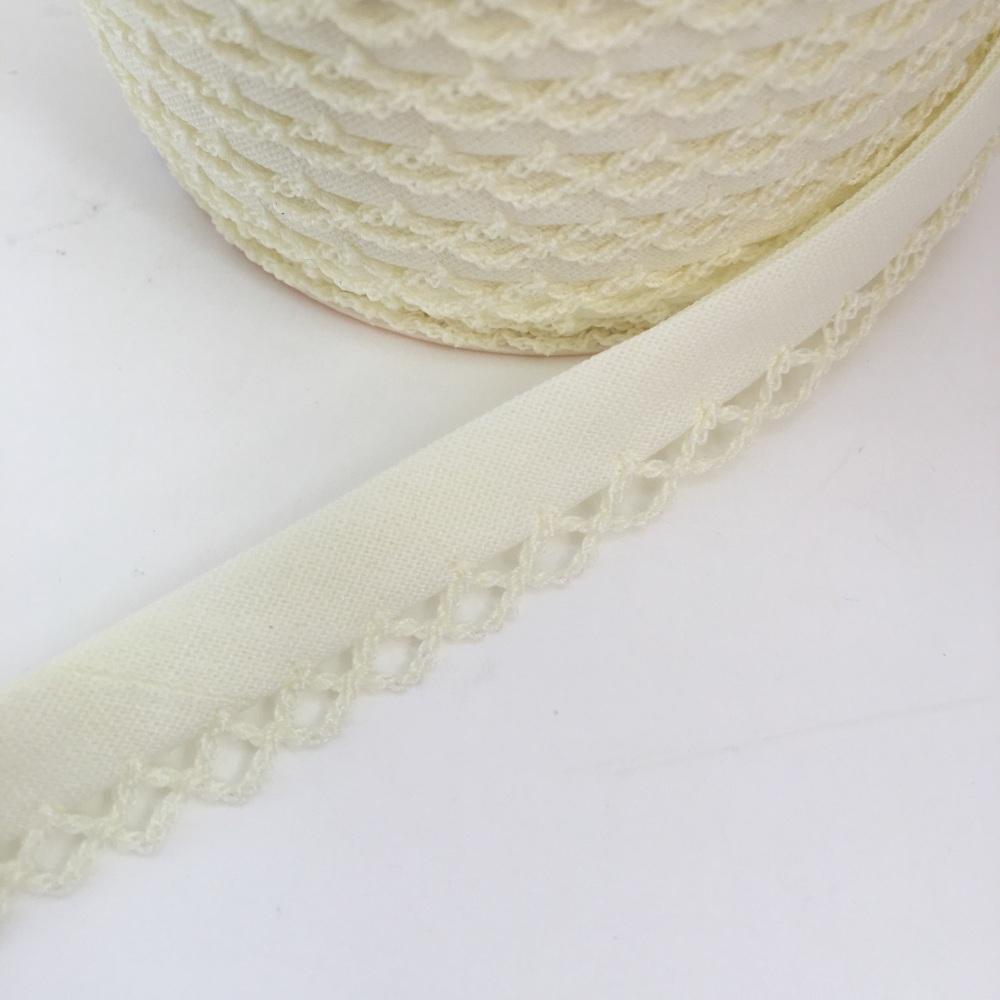 Cream 12mm Pre-Folded Plain Bias Binding with Lace Edge
