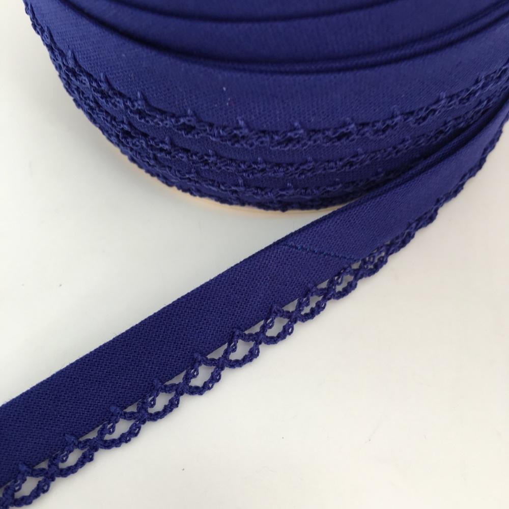 Dark Blue 12mm Pre-Folded Plain Bias Binding with Lace Edge