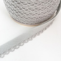 Grey 12mm Pre-Folded Plain Bias Binding with Lace Edge