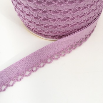 Lilac 12mm Pre-Folded Plain Bias Binding with Lace Edge