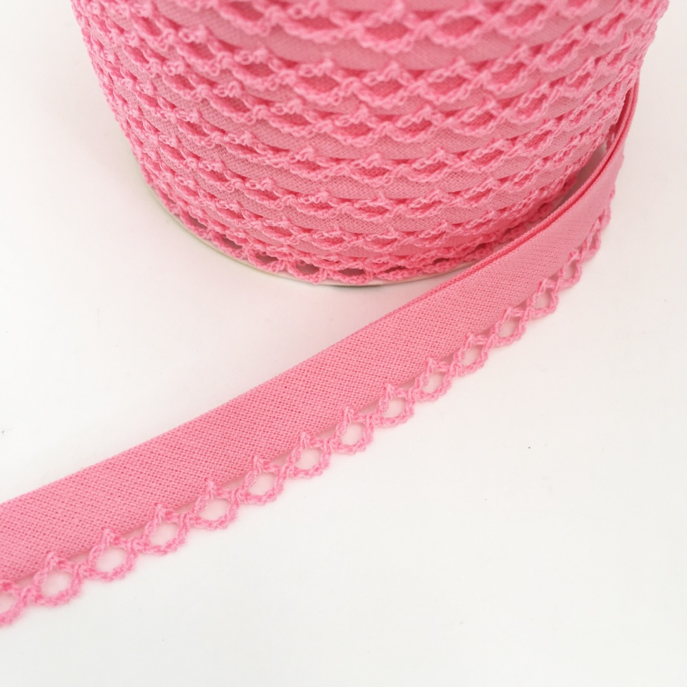 Mid Pink 12mm Pre-Folded Plain Bias Binding with Lace Edge