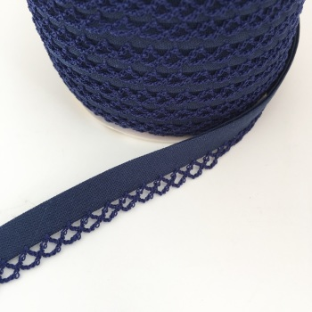 Navy Blue 12mm Pre-Folded Plain Bias Binding with Lace Edge