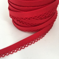 Red 12mm Pre-Folded Plain Bias Binding with Lace Edge