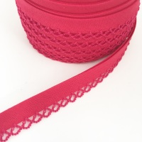 Fuchsia 12mm Pre-Folded Plain Bias Binding with Lace Edge