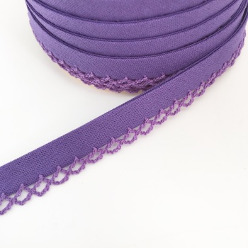 Purple 12mm Pre-Folded Plain Bias Binding with Lace Edge