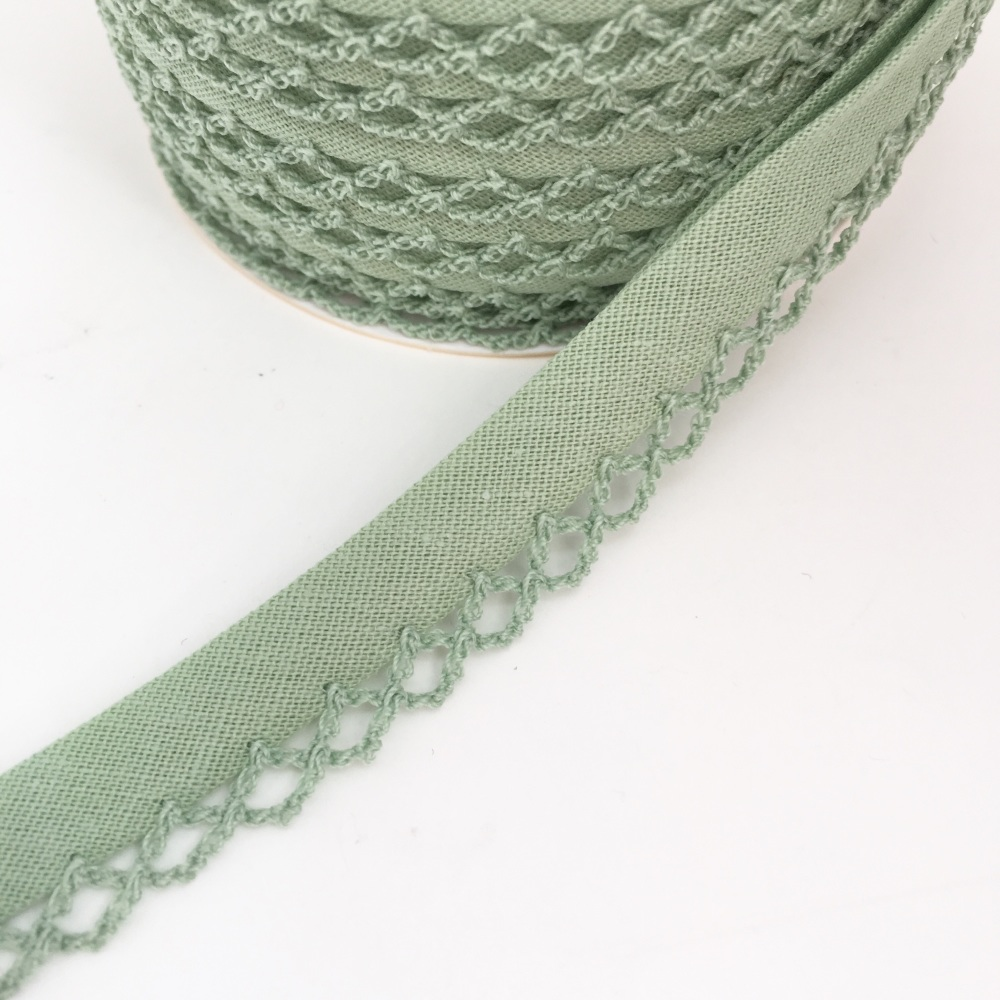 Sage Green 12mm Pre-Folded Plain Bias Binding with Lace Edge