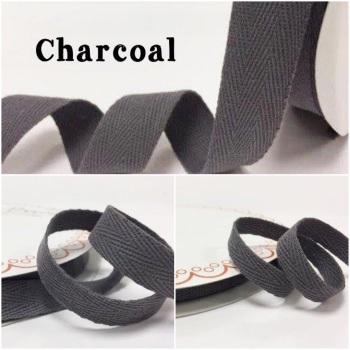 Charcoal Cotton Herringbone Twill - 3 Widths