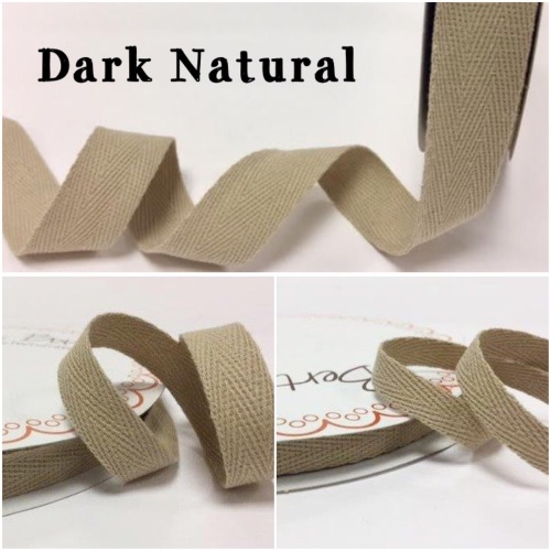 Dark Natural Cotton Herringbone Twill - 3 Widths