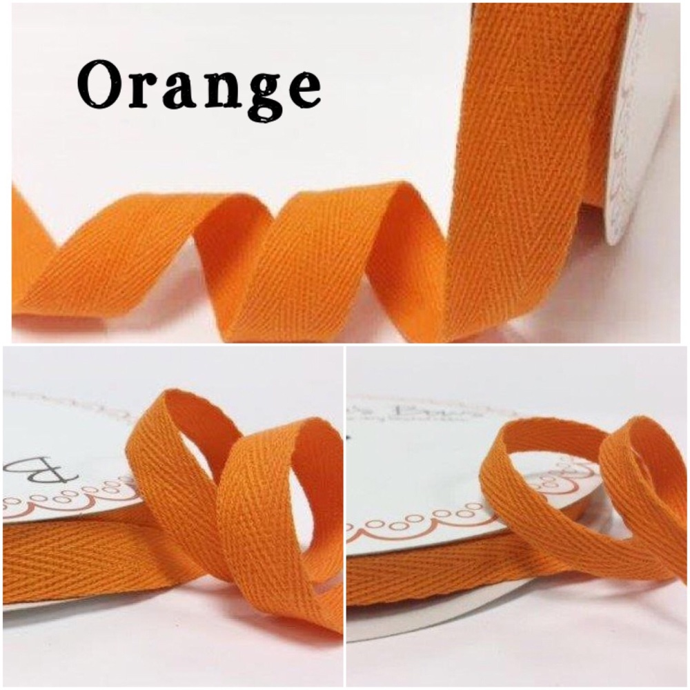 Orange Cotton Herringbone Twill - 3 Widths
