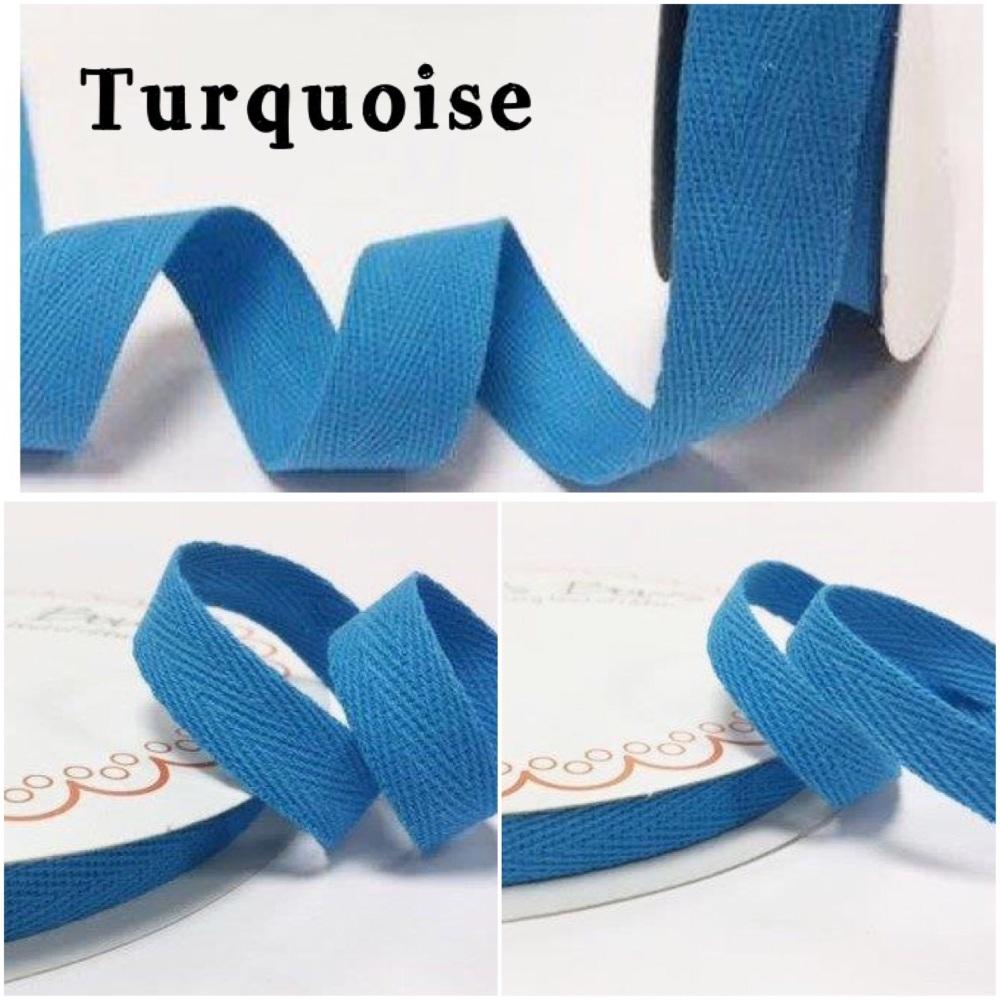 Turquoise Cotton Herringbone Twill - 3 Widths
