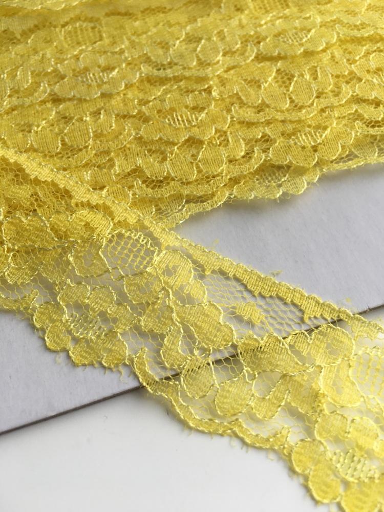 30mm Scalloped Lace - Yellow