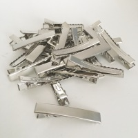 Silver Rectangle Alligator Hair Clips 4.5cm 45mm