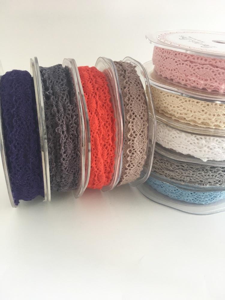 12mm Double Edged Scalloped Crotchet Cotton Lace - 9 colours