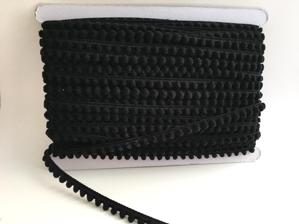 Mini Pom Pom Trim - Black