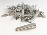 Silver Rectangle Alligator Hair Clips 3.5cm 35mm