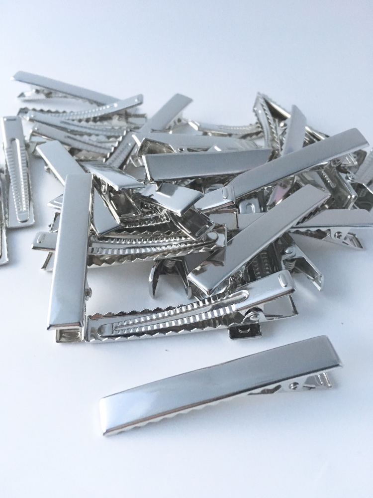 Silver Rectangle Alligator Hair Clips 5.5cm 55mm