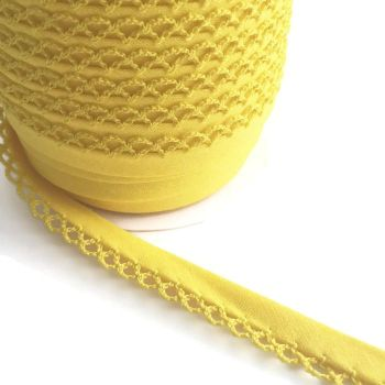 Yellow 12mm Pre-Folded Plain Bias Binding with Lace Edge