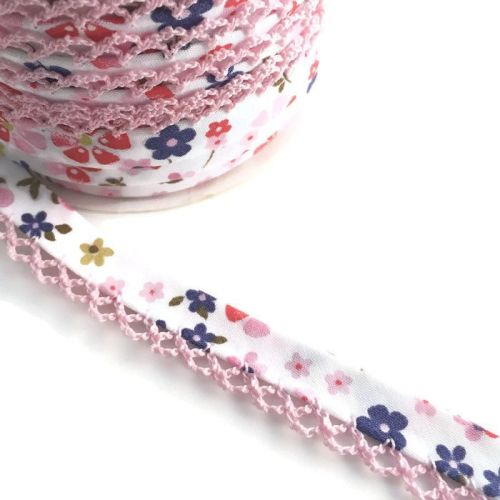 Pink & Purple Flower Print 12mm Pre-Folded Bias Binding with Pink Lace Edge