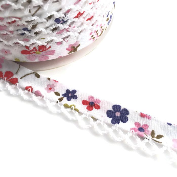Pink & Purple Flower Print 12mm Pre-Folded Bias Binding with White Lace Edg