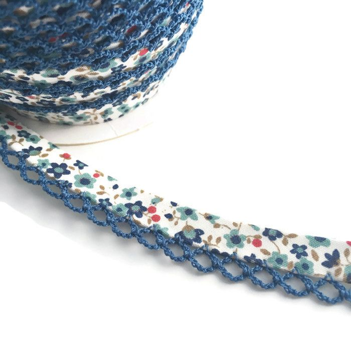 Blue Flower Print 12mm Pre-Folded Bias Binding with Navy Lace Edge