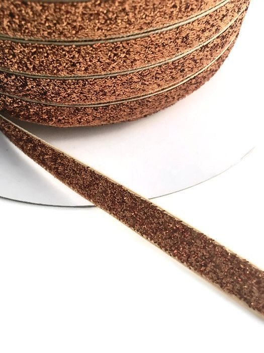 10mm Glitter Velvet Ribbon - Copper
