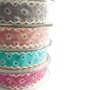 25mm Daisy Print Ribbon with Ivory Lace Edge