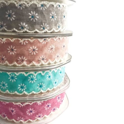25mm Blue Floral Polka Dot Ribbon with Ivory Lace Edge