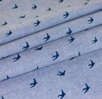 Chambray Swallows - Navy on Medium Blue