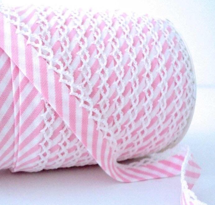 Candy Stripe Frilled Edge Bias Binding