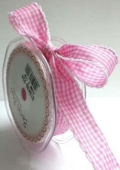 25mm Gingham Ribbon with White Lace Edge - Pink