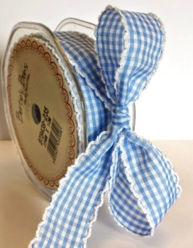 25mm Gingham Ribbon with White Lace Edge - Blue