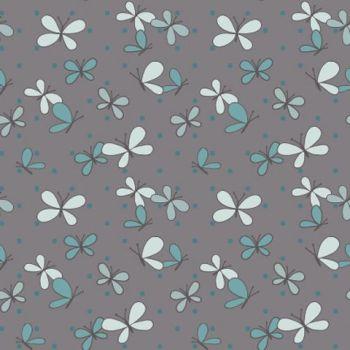 REMNANT 30cm x 110cm Ella Blue Spring Mischief - Butterflies Charcoal