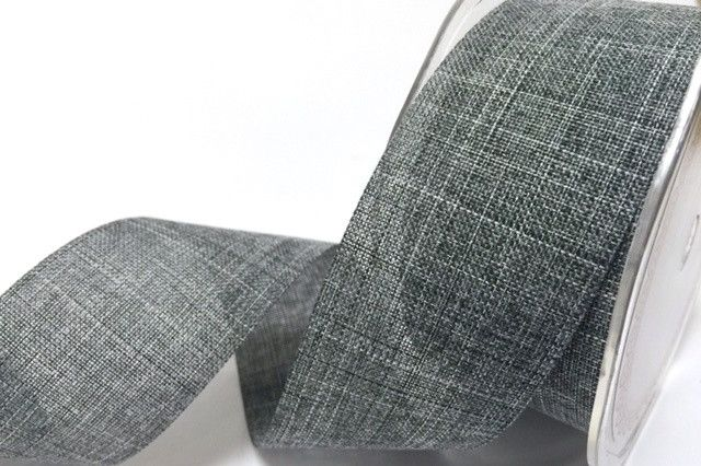 Faux Linen Ribbon 25mm and 38mm - Charcoal