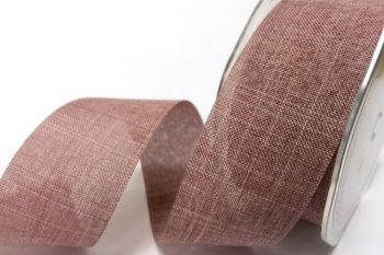 Faux Linen Ribbon 25mm - Rose