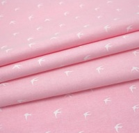 Chambray Swallows -  White on Pale Pink