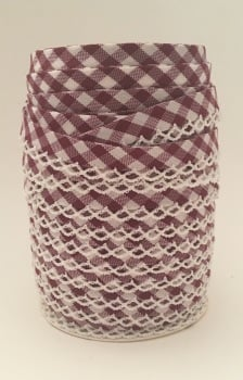 Burgundy 12mm Pre-Folded Gingham Bias Binding with Lace Edge