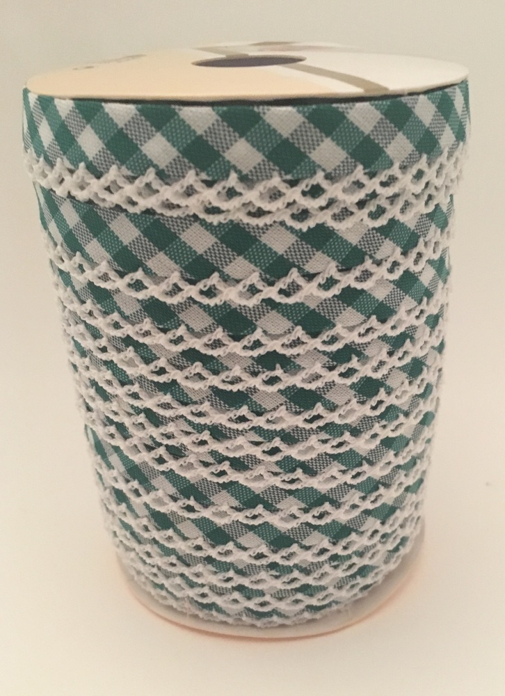 Dark Green 12mm Pre-Folded Gingham Bias Binding with Lace Edge