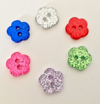 10mm Glitter Flower Buttons