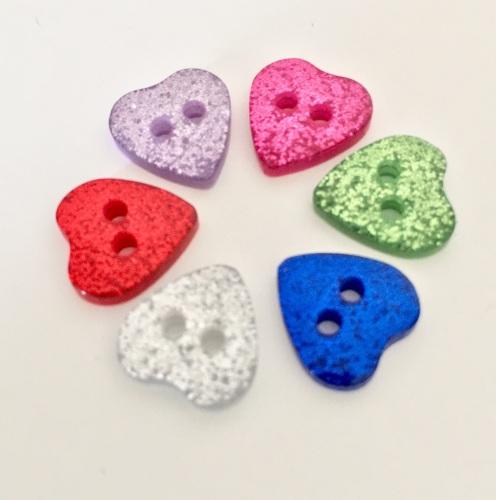 10mm Glitter Heart Buttons