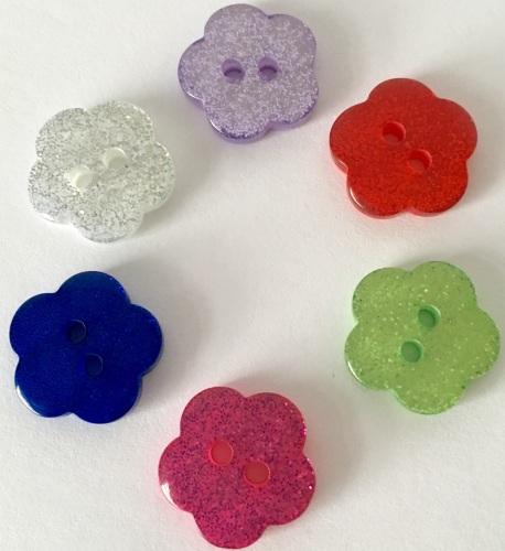 15mm Glitter Flower Buttons