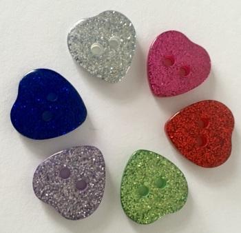 15mm Glitter Heart Buttons